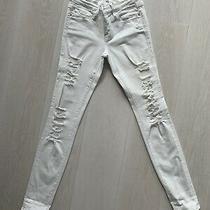 Frame Denim  Le Skinny De Jeanne White Skinny Ripped Denim Jean Size 25 Photo