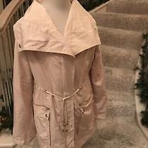 Francescas Miami Peach Blush Zip Up Moto Light Jacket Anorak Raincoat Sz M Photo