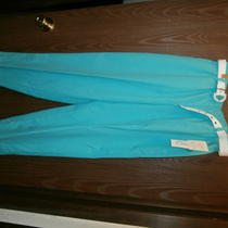 Franciscaby Koret Tropical Breee 313 Aqua Slacks Nwt Petites 12 Short Photo