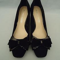 Franco Sarto 2.75 in Heel Womens Shoes Sz 9m Black Suede Patent Leather Dressy Photo