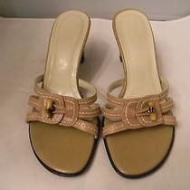 Franco Sarto Beige Leather Slides/sandals 7m Eu 37.5 With 3