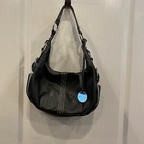 Franco Sarto Black and Silver Leather Hobo Style Shoulder Bag Purse Guc Photo
