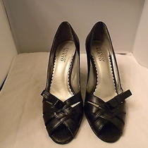 Franco Sarto Black Leather Open Toe Pumps 10m With 3.75