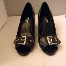 Franco Sarto Black Leather Open-Toe Pumps Size 8.5m With 3
