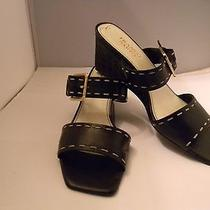 Franco Sarto Black Leather Slides 8m With 2.75