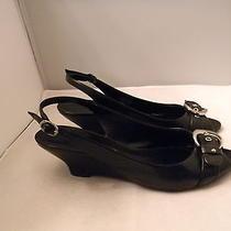 Franco Sarto Black Leather Slingbacks Open Toe 7.5m  2.25