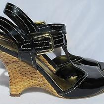 Franco Sarto Black Patent Wedge Heel Sandals 9 M Womens Basket Weave Jana Photo