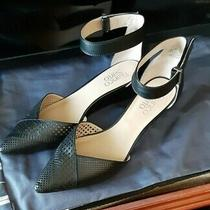 Franco Sarto Black Pointed Toe Pierced Leather Ankle Straps Size 7.5 Wedge. 1.5  Photo