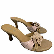 Franco Sarto Blush Tan Floral Leather Sandal Heels Womens Size 6.5 M Photo