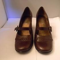 Franco Sarto Brown Leather Mary Janes Pumps 7.5m With 2.75