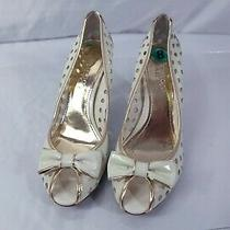 Franco Sarto Gold Gray Patent Leather Bow Peep Toe Pumps Candor1 Size 8m Photo