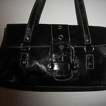 Franco Sarto Handbag Purse Blk Leather Steel Excellent Messenger Style Bag  Photo