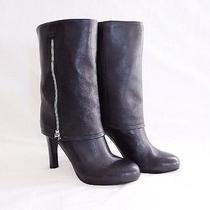 Franco Sarto Lady Black Fold Over Zipper Genuine Leather Heeled Boots  Size 5.5 Photo