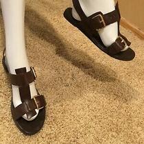 Franco Sarto Leather Brown Gladiiator Sandals Size 9  Photo