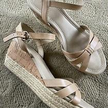 Franco Sarto Parker Wedge Sandals Sz 8 Nude Cork Jute Vguc. Genuine Leather Photo