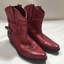 Franco Sarto Red Leather Waco Western Ankle Boots Sz 8 M Cowgirl Photo