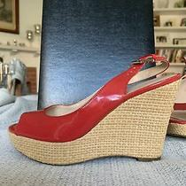 Franco Sarto Sarah Sandals 7.5 Red Patent Leather Open Toe Wedge Photo