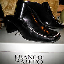 Franco Sarto Sz 5.5m Blk Genuine Leather Mule Pumps W/wht Leather Trim Orig Box Photo