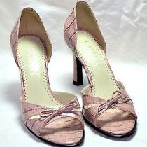 Franco Sarto Sz 6.5m Blush Slip on Open Toe Closed Heel Croc Print Heels Photo