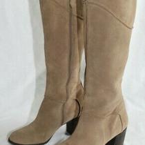 Franco Sarto Tan Suede Zip Yamka Boots Tall Boho Block Heel Women's Size 9.5 Photo