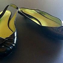 Franco Sarto Ultima Black Patent Leather Slingback Flat Kitten Heel Shoes Size 6 Photo
