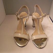 Franco Sarto White Patent Tee Strap Sandal 8m With 3.75