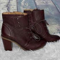 Franco Sarto Women's Eden Deep Maroon Leather Booties 6.5 Lace Up Photo