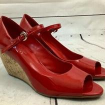 Franco Sarto Womens Size 8 1/2 Red Patent Leather Peep Toe Wedges Heels Shoes Photo