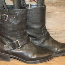 Franco Sarto Womens Black Leather Pull on Buckle Ankle Bootie/boots Sz 8.5 M Photo