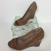 Franco Sarto Womens Brown Leather Glitzy Open Toe Wedges Shoes Size 6 M Photo
