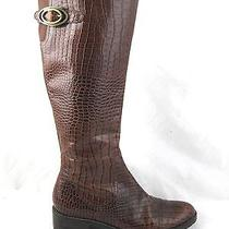Franco Sarto Womens Tall High Riding Boots Sz 7m Dark Brown Leather Croc Print  Photo