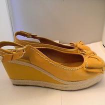 Franco Sarto Yellow Leather Slingbacks Sandals 9m With 3.25