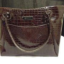 Franklin Covey Dark Brown Patent Leather Faux Croc Computer Bag Organizer Photo