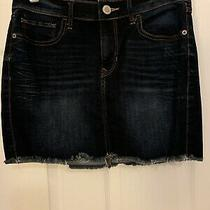 Frayed Bottom Express Denim Skirt Size 2 Photo
