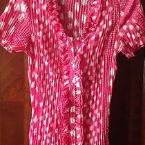 Fred Davis Blouse Any Pka Dot  Raspberry Pink White S Short Sleeve             Photo