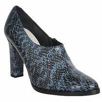 Freda Salvador Heel Booties Leather Snake Print Black Blue Size 6 Photo