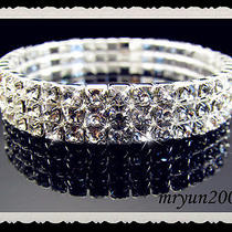 Free 3 Row Vegas Clear Rhinestone Stretch Bangle Bracelet Shining Bridal Jewelry Photo