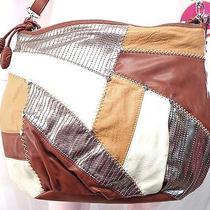 Free Bird the Sak Patched Beige Brown Silver Womens Crossbody Handbag Photo