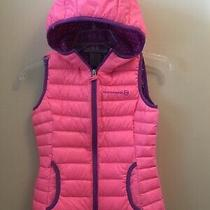 Free Country Girl's Hooded Power Down Vest Pink Blush Purple 7/8 S/p/f Euc Photo
