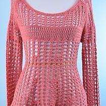 Free People 149 Blush Pink Long Sleeve Cotton Crochet Sweater Tunic Top Size Xs Photo