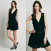 Free People 168 Black First Bloom Crochet Lace v-Neck Dress Size Small Photo