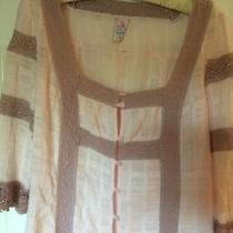 Free People Anthropologie Blush Pink Cotton With Crochet Top Sz S Button Euc Photo