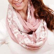 Free People Anthropologie Vintage Lace Infinity Scarf - Charming Pink Photo