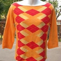 Free People Argyle Pullover Sweater Lambs Wool Orange Pink Yellow Large Euc Photo
