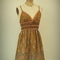 Free People Baby Doll Mini Dress Paisley Floral 100% Silk Size 0 Photo