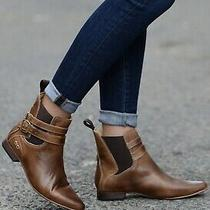 Free People Bed Stu Size 8 Tan Distressed Ankle Buckle Detail Booties Photo