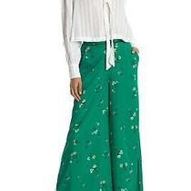 Free People Bennie Green Floral Wide Leg Pants ( Size 4 ) Photo