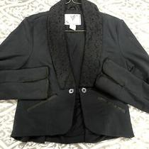 Free People Black Blazer Jacket Cotton Stretch Sz  S/p Photo
