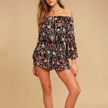 Free People Black Multi Floral Off the Shoulder Romper Sz S Photo