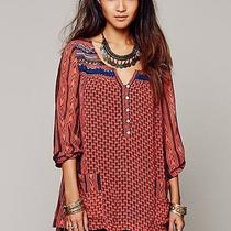 Free People Blood Orange Blouse Orange Feather in the Wind Small Photo